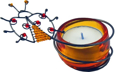 Beaded Amber Ladybug Tealight Candle Holder **CLEARANCE**