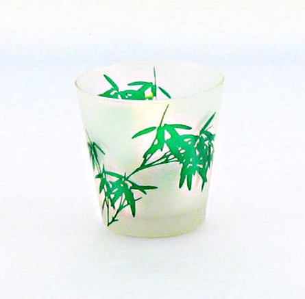 Bamboo on Frosted Glass Votive Holder
