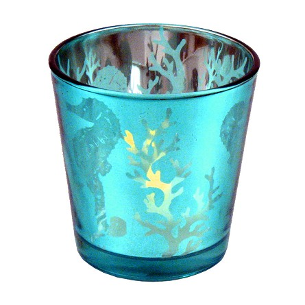 Metallic Ocean Sea Life Relief Votive Candle Holder