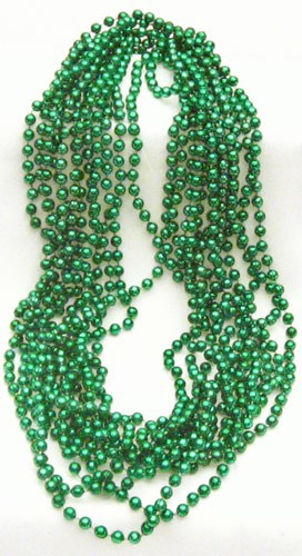 "33"" 7mm Green Metallic Beads (12)"