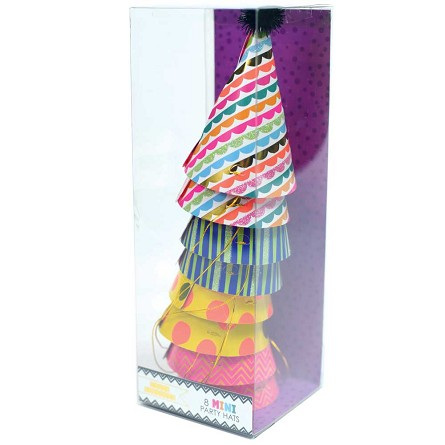 "8 Mini 5"" Party Hats in 4 Festive Designs"