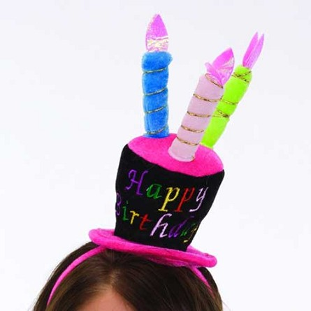 Happy Birthday Cake Hat Headband with Lite Up Candles