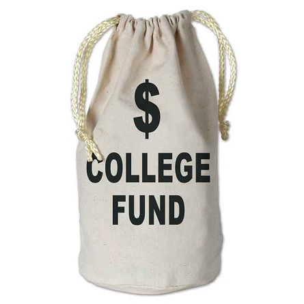 College Fund Fabric Money $ Bag With Drawstring