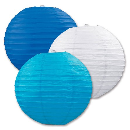 "9.5"" Seaside Blue, White & Teal Round Paper Lanterns (3)"