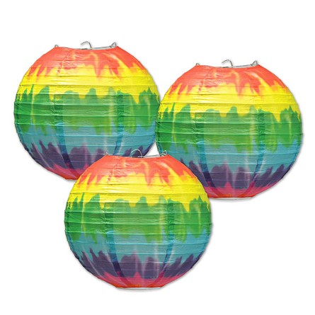 "9.5"" Groovy Tie-Dyed Rainbow Round Paper Lanterns (3) **CLEARANCE**"