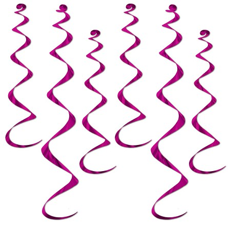 Fuchsia Pink Metallic Twirly Whirly Hanging Ceiling Swirls (6)