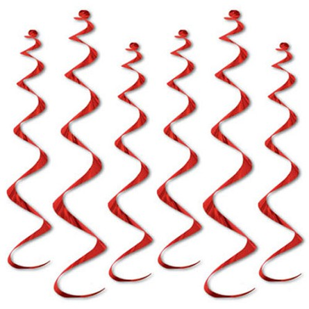 Red Metallic Twirly Whirly Hanging Ceiling Swirls (6)