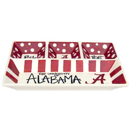 "13"" x 10"" University of Alabama 4-Section Ceramic Platter"