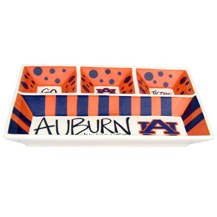 "13"" x 10"" Auburn University 4-Section Ceramic Platter"