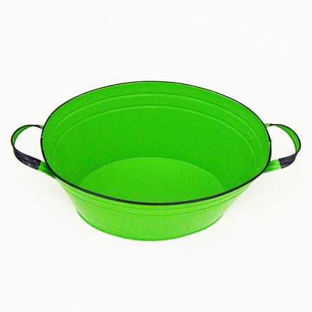 Lime Green Enamel Oval Beverage Tub - 19