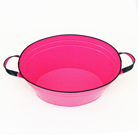 "Hot Pink Enamel Oval Beverage Tub - 19"" x 12"" x 7"""