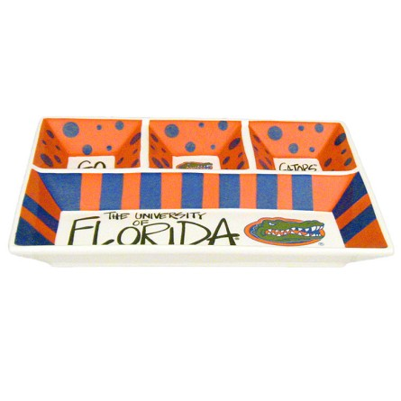 "13"" x 10"" University of Florida 4-Section Ceramic Platter"