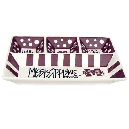 "13"" x 10"" Mississippi State University 4-Section Ceramic Platter"