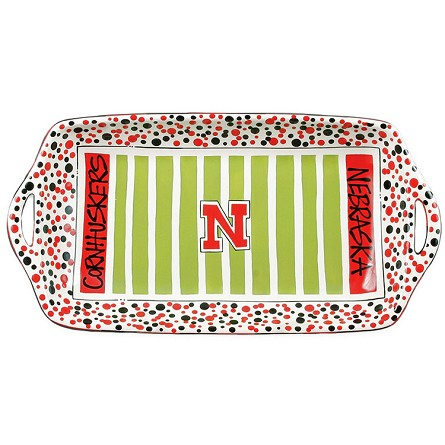 "16"" x 8"" University of Nebraska Ceramic Stadium Platter"