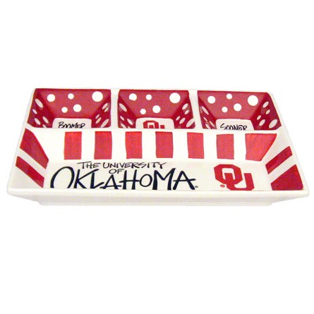 "13"" x 10"" University of Oklahoma 4-Section Ceramic Platter"