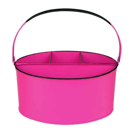 Hot Pink Enamel Oval Utensil Holder - 11