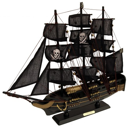 "19"" Black Queen Anne's Revenge Pirate Ship"