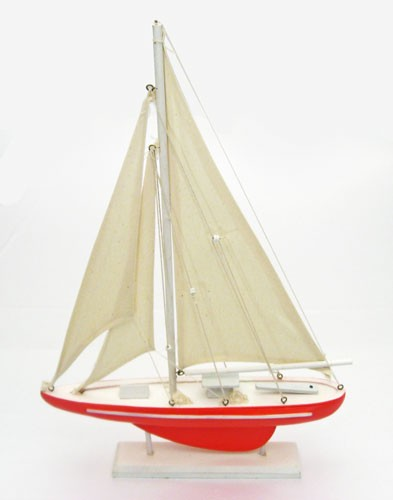"19"" Wood Pond Sailboat - Red"