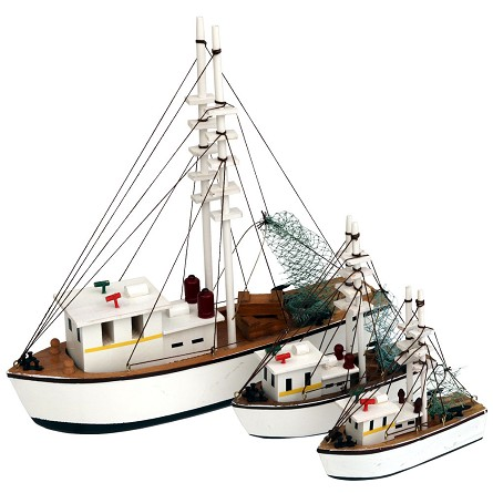 Double-Rig Wood Shrimp Boat - 3 sizes