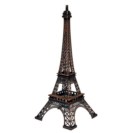 Antique Bronze Paris Eiffel Tower Metal Centerpiece - 15-inch