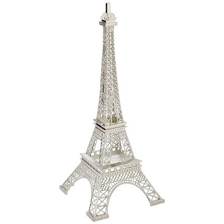 Silver Paris Eiffel Tower Metal Centerpiece - 15-inch