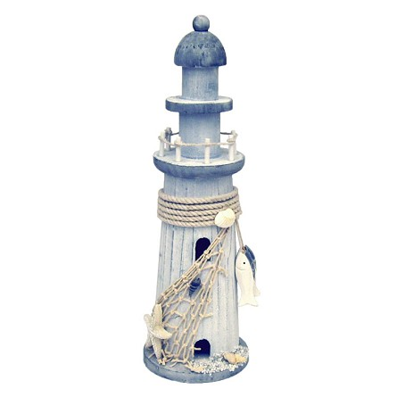 "12"" Weathered White Wood Lighthouse With Starfish & Net"