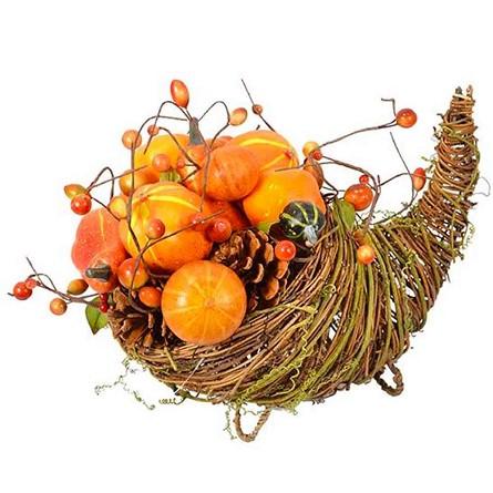 14 Quot Primitive Style Twig Cornucopia With Gourds