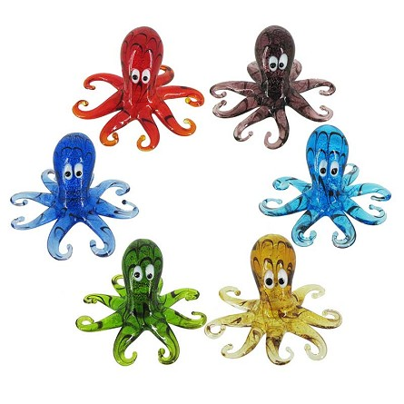 Cute Mini Art Glass Octopus - 6 colors