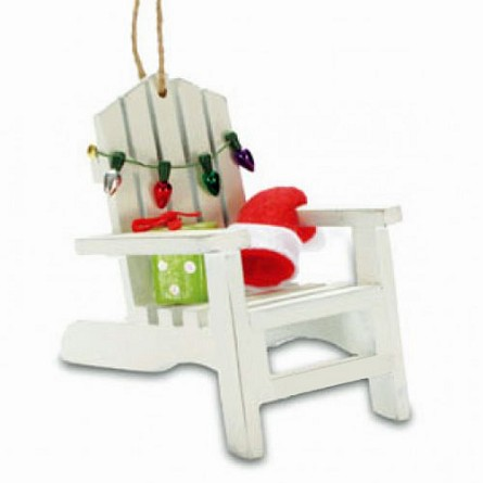 adirondack chair santas cap coastal christmas ornament - Decorating Adirondack Chairs For Christmas