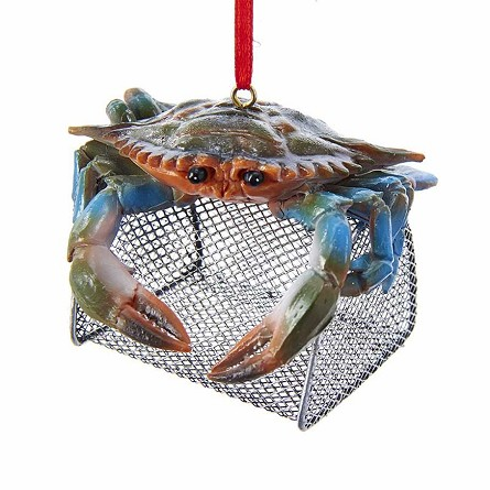 Blue Crab on Wire Cage Coastal Christmas Ornament