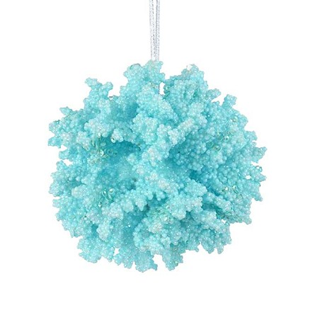 Glittered Coral Ball Coastal Christmas Ornament - 2 colors