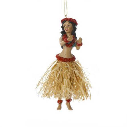 "5"" Dancing Hula Girl Coastal Christmas Tree Ornament - 2 styles"