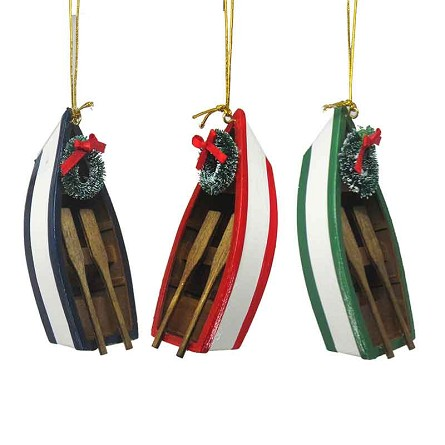 "4"" Row Boat With Wreath Coastal Christmas Tree Ornament - 3 colors"