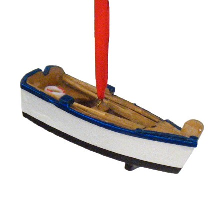 Wood Row Boat Coastal Christmas Ornament - 3 colors