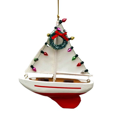 "5"" Sailboat with Lights Coastal Christmas Tree Ornament"