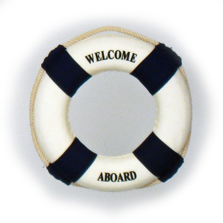 "6"" Welcome Aboard Mini Life Preserver - Blue or Red"