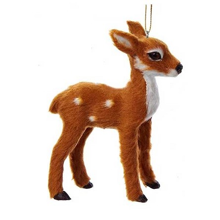 Furry Baby Deer Woodland Lodge Hanging Ornament