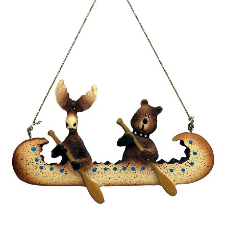 Bear & Moose Paddling Canoe Lake & Lodge Hanging Ornament