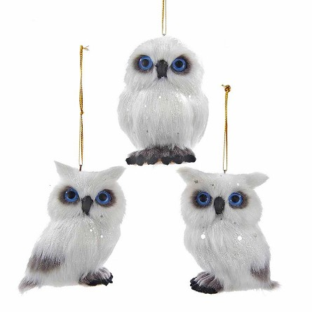 Snowy White Owl Woodland Christmas Ornament - 3 styles