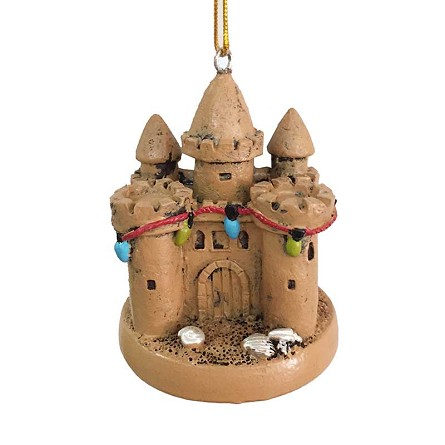 Resin Sandcastle & Lights Coastal Christmas Tree Ornament
