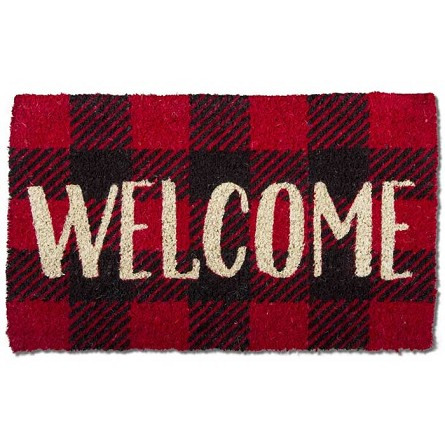 Coconut Fiber Red & Black Check WELCOME Mat