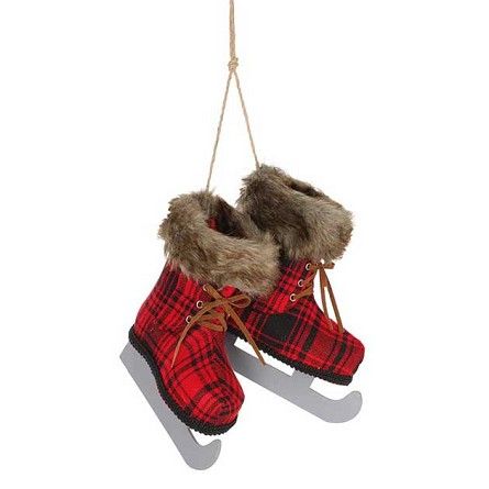 Red & Black Plaid Hanging Ice Skates Decoration