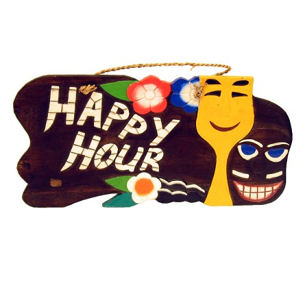 "19"" Wood Tiki Bar/Happy Hour Sign - 2 styles **CLEARANCE**"